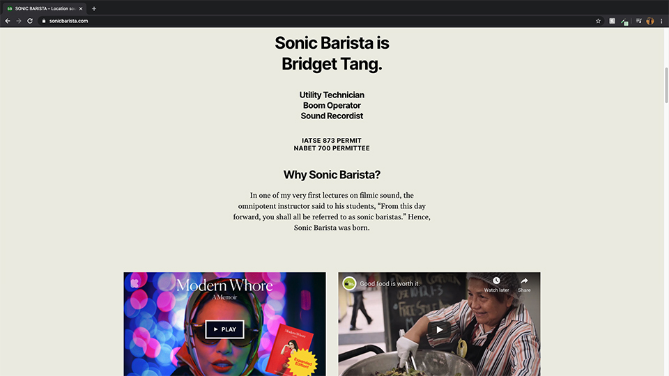 Screen capture of page from Sonic Barista website